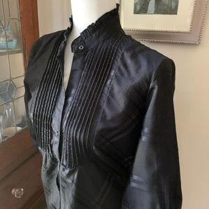 "NY&CO Black 3/4"" Sleeve Button Down Shirt"